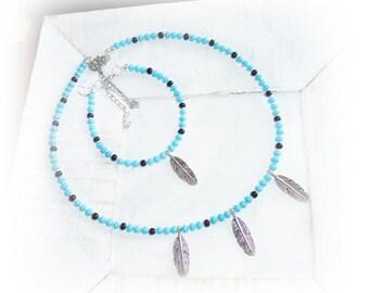 Set Necklace Bracelet, Silver Springs