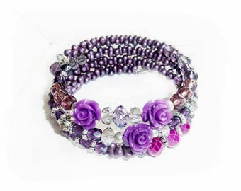 Bracelet, purple roses, glass beads