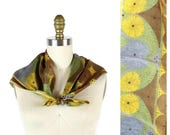Vintage 1960s Vera Neumann Scarf / Green Yellow Blue Medallion Design