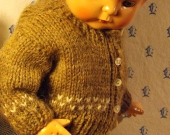 """Snowflake Sweater/Overalls/Linen Top for 19"""" Vintage Patsy Ann Doll"""