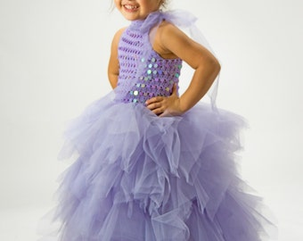 Ready to ship. Size 3/4 Years.Lavender Tulle Tutu Gown Dress for girl.