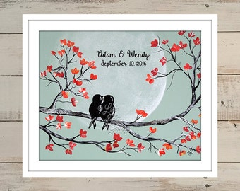 Wedding Print 1st Anniversary Gift Paper Anniversary Present Love Bird Print Mint Coral Wedding Gift Personalized Engagement Gift for Couple