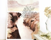 Perfect Peace, Isaiah 26:3,4 watercolor verse, 8x10 11x14 print, cliffs and sunset painting, christian wall art