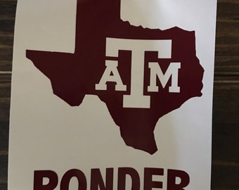 Texas A&M with Name Decal | Aggie Yeti Decal | Texas A and M RTIC Decal | Aggie Car Decal | Customized Texas Decal