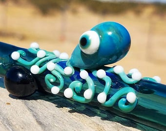 Octopus Chillum - Silver Aqua Glass - Striking Color - Black Chillum - Heady Glass