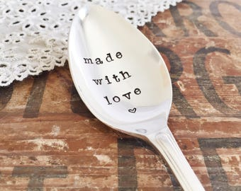 Made With Love. Hand Stamped Vintage Spoon.