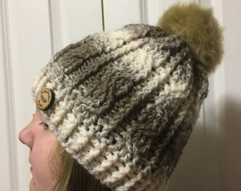 Zig Zag Cable Pom pom beanie, cable hat, winter toque, pom pom,