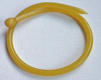 Funky handmade vintage Bangle - translucent amber plastic knitting needle bangle - internal diameter is 66mm
