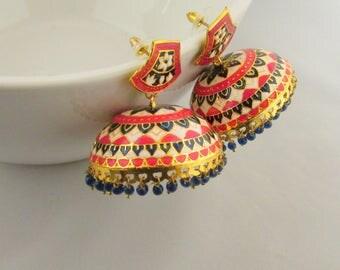 Meenakari Hand Crafted Lightweight Jhumka  Dangle Earrings