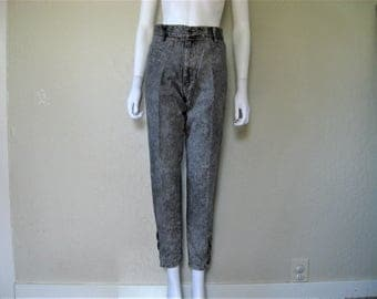 Grey 80s Stone Washed tapered high waist jeans