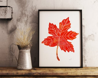 Maple Leaf Wall Art, Thanksgiving Art, Fall Leaves, Watercolor Leaf Print, Autumn Watercolor, Fall Wall Decor, Orange Wall Art, Home Decor