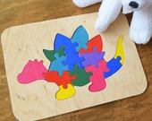 Dino Toddler toy Wood puzzle Dinosaur Baby Montessori toys Wooden Educational Waldorf Kids eco friendly Animal learning 1st birthday gift
