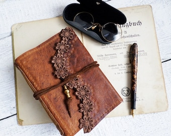 Stamped Brown Goat Leather Notebook coffee stained paper Ready to Ship