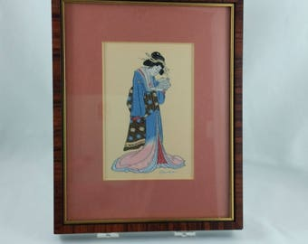 """Vintage 1980's Framed Miniature Woven Silk Picture by Cash of Japanese Woman """"Eishi """" Gift for Her Collectible Art"""
