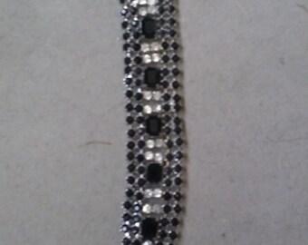Vintage Black and Clear Rhinestone Bracelet