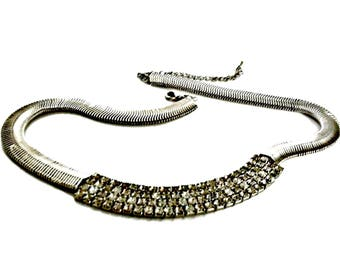 Rhinestone Encrusted Necklace Wide Snake Chain