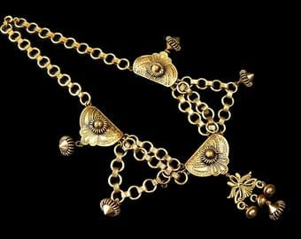 Egyptian Revival Necklace Cleopatra Bib Stamped Brass Book Chain