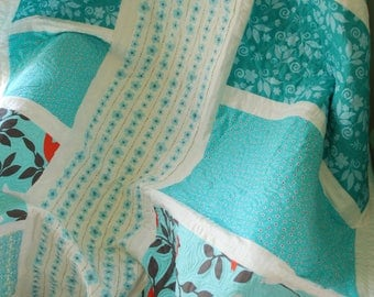 Baby quilt, child modern quilt, lap patchwork quilt, white and teal quilt, turquoise and red patchwork quilt