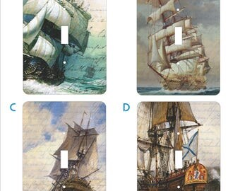 Metal Tall Ship Light Switch Cover Series - Tall Ship Switch Plates - 1T Single Toggle