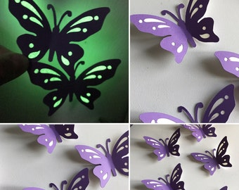 Glow in the dark butterfly decals, butterfly wall decor, 3D paper butterfly, glow decor, nursery decor, wedding decor, purple butterfly art