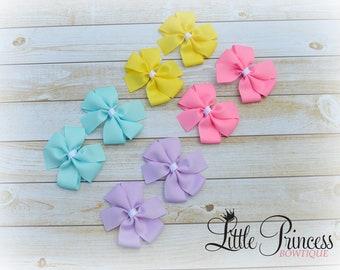 Set of 8 Pastel Hairbows, Pastel Hair Bows, Pinwheel Set, Mini Bows