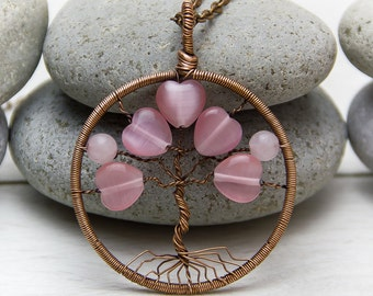"""Tree-Of-Life Necklace Pendant 1.8"""" Copper Wire Wrapped Pendant  Wired Copper Jewelry Wire Wrapped Modern Tree Pink heart, Valentine's Day"""