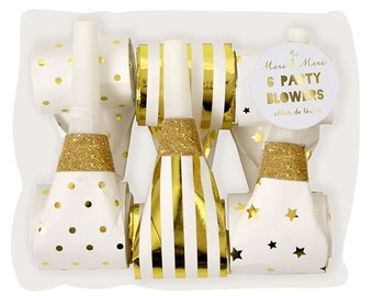 Gold Foil Fancy Party Blowers | Meri Meri Party Favors | New Years EVE, NYE Party