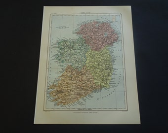 "IRELAND antique map - 1880 original old English print of Irland Dublin - vintage maps about Irish history - 21x27c 8x11"" small poster"