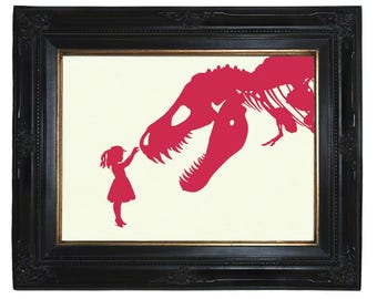 Dinosaur Art Print Silhouette Girl with T-Rex Dinosaur Nursery art print Victorian Steampunk Pink and other colors