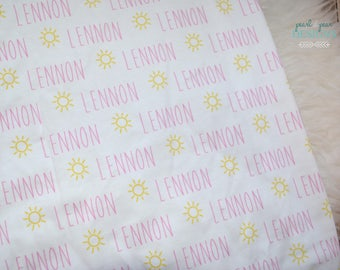 Personalized sunshine swaddle blanket: baby and toddler personalized name newborn hospital gift baby shower gift