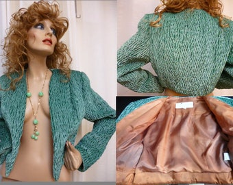 Velvet Short Crop Jacket, Teal Green, GENESO, Sunny Chayes, Fully Lined, Vintage, Small, 80s