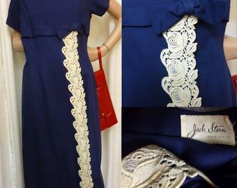 JACK STERN Originals Navy Blue Wiggle Dress, Ivory Lace Detail, Bow, Metal Zipper, Vintage 50s, Medium