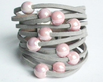Leather bracelet cuff grey suede with ceramic beads