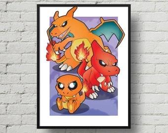 Pokemon, Charmander, Charmeleon, Charizard, Digital Illustration, Print, Art Poster, Comic, Home Wall Art Decor, Birthday Gift, For Kids