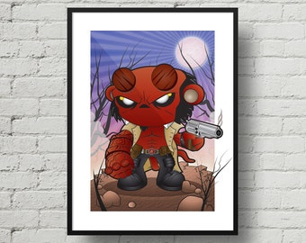 Hellboy, Digital Illustration, Print, Art Poster, Comic, Home Wall Art Decor, Birthday Gift, Christmas Gift