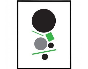 Green & Black - Two Colour - Minimal Geometric Abstract Print