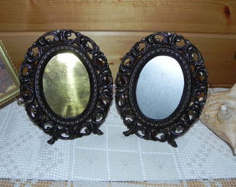 Pair of Ornate Cast Oval Standing Frames