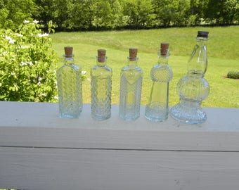 Decorative Clear Glass Bottles with Corks and Cap (Set of 5) - Hobnail, Apothecary, Perfume