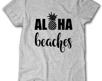 Aloha Beaches shirt, Beach shirt shirt, Southern shirt, Pineapple shirt, Beach fun shirt, Vacation shirt, Beach trip shirt, Hawaii shirt