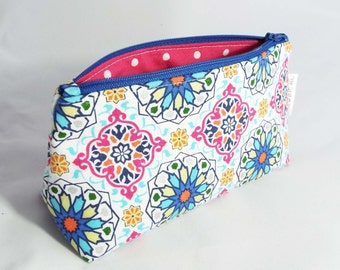 Cosmetic Bag // Zipper Cosmetic Pouch // Toiletry Bag // Zipper Pouch // Pencil Pouch // Flat Bottom Makeup Pouch