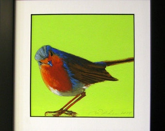 Robin painting with lime green background matted and framed