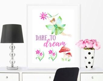 "Teen Room Printable Art, Instant Download Digital File ""Dare to Dream"" Fairy Watercolor 8x10 Digital Print"