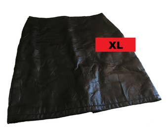 "A-Line Black Leather Skirt, Patchwork Patch Leather Skirt, XL, Extra-Large, Miniskirt, 23"" Length, 36"" Waist, Vintage, No Waistline, Mini"