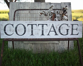 COTTAGE sign / Rustic Cottage Decor / French Country Decor / Country Cottage / Rustic Wood Sign / Hand Painted Signage / Cottage Beach