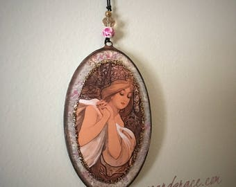 Alphonse Mucha, Art Nouveau, Leaded Glass, Hanging Ornament