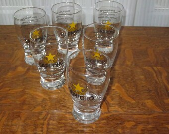 Vintage Set of 6 Sapporo Beer Toasting , Beer Tasting 4 ounce glasses, Snaps glasses