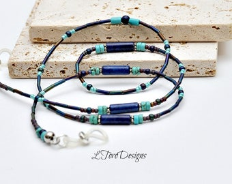 Lapis Eyeglass Chain,Designer Eyeglass Chain,Lanyard, Blue Sunglasses Chain, Sunglasses Chain, Reading Glasses Chain,Glasses Chain,Eyewear