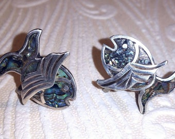 Vintage sterling abalone fish earrings.