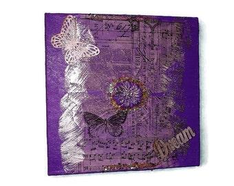 Original Mixed Media Dream Abstract Art Acrylic Original 12x12 Textural Mixed Media Original on canvas Original painting purple painting