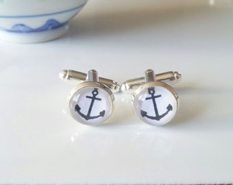Christmas Gifts - Anchor Cufflinks -Gifts for men - Wedding Accessories - Silver Cuff links - Nautical Cuff links - Father's Day Gift